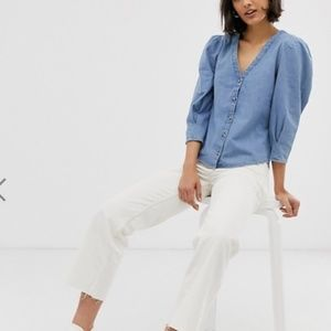 NWT Monki Denim V Neck Blouse with Puff Sleeves
